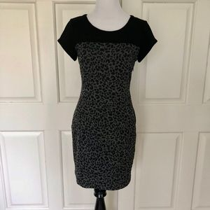 BLACK GRAY LEOPARD PRINT KNIT LINED DRESS MUSE